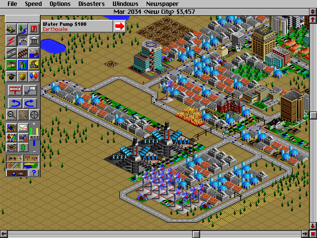 SimCity 2000 DOS Earthquake. Fire and troubles appears.