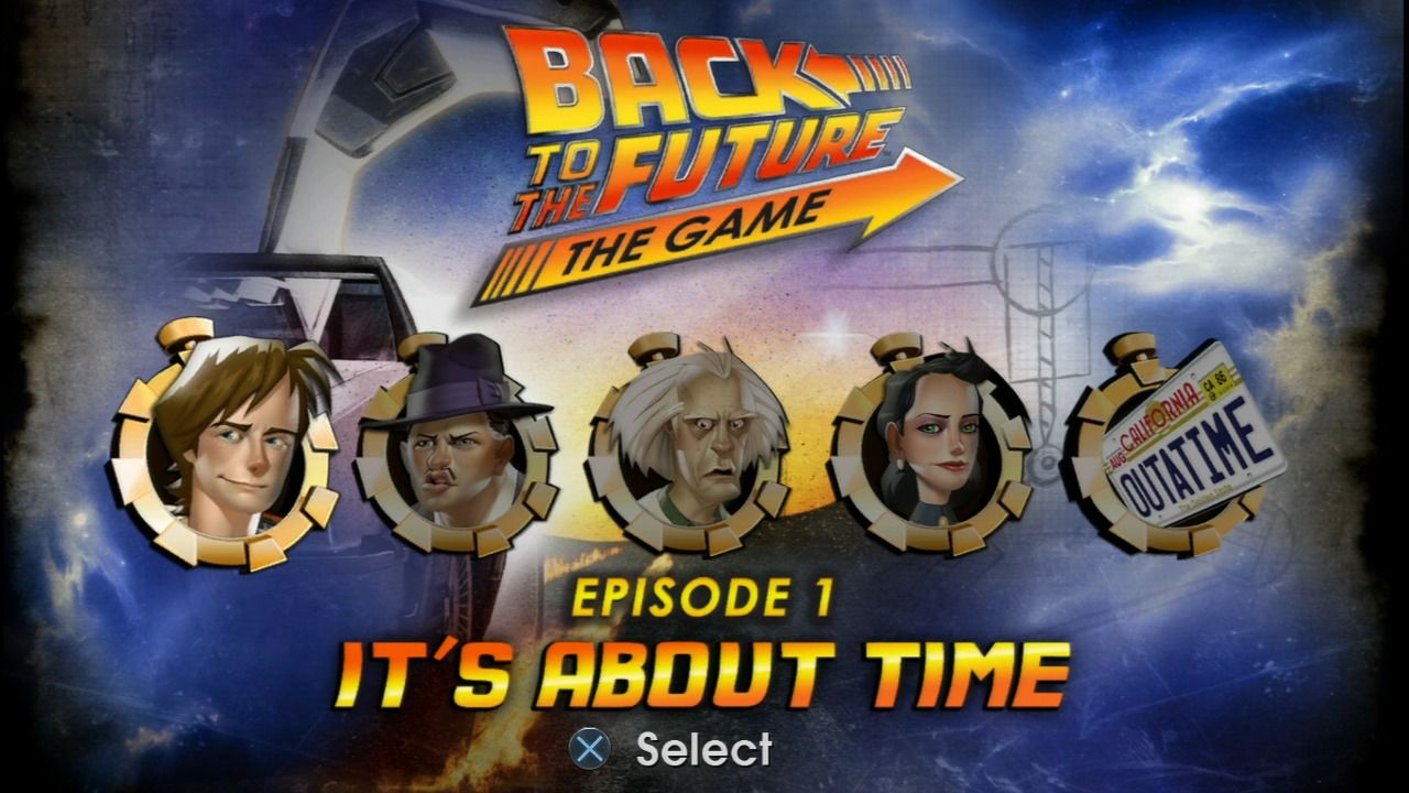 Back to the Future: The Game PlayStation 3 Episode selection screen.