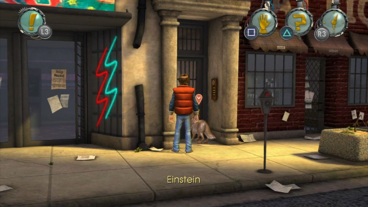 Back to the Future: The Game PlayStation 3 Episode 1 - Looking for clues about Doc with his trusty dog Einstein.