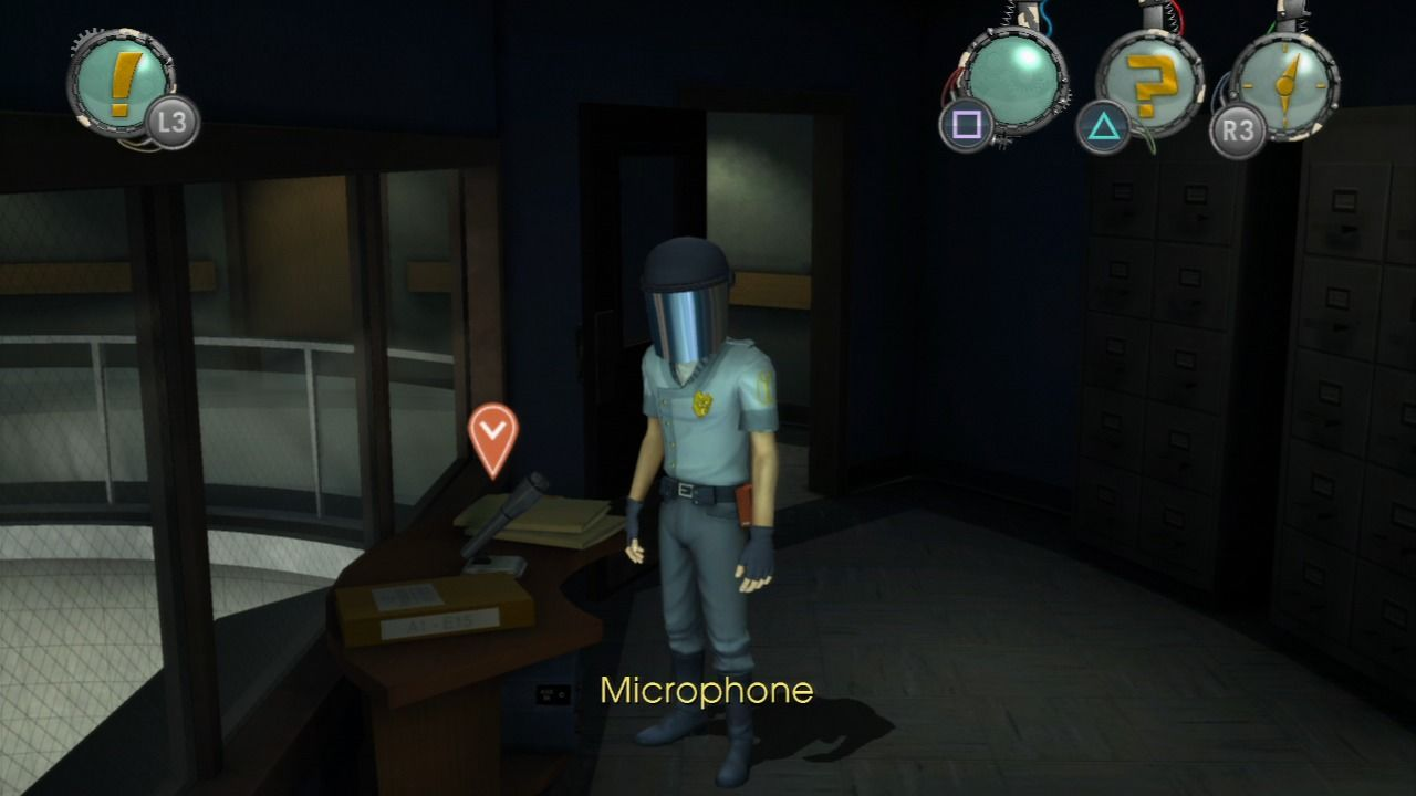 Back to the Future: The Game PlayStation 3 Episode 4 - Marty dressed as a security guard trying to help Doc.