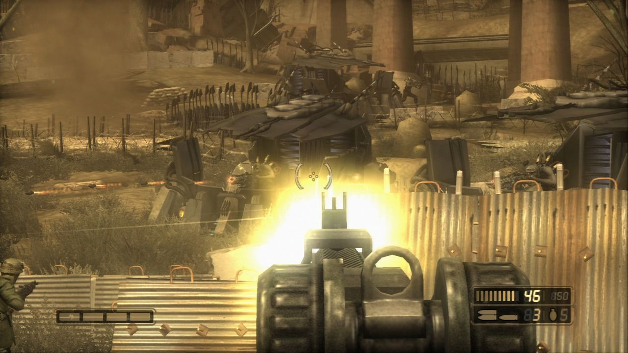 Resistance: Fall of Man PlayStation 3 Taking out the enemy turrets.