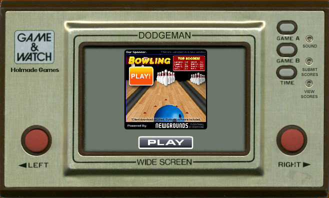 Game & Watch: Dodgeman Browser The game is ready to start