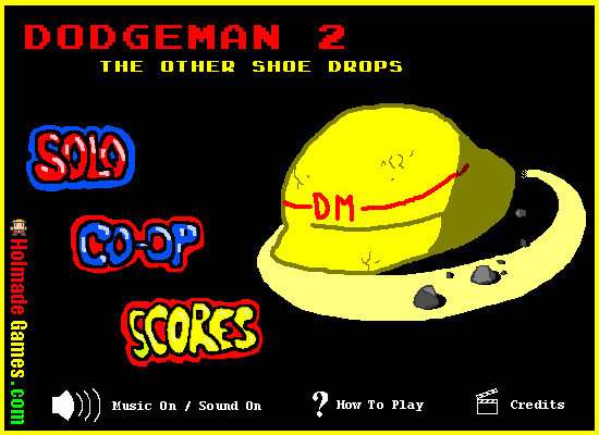 Dodgeman 2 Browser Title screen and main menu
