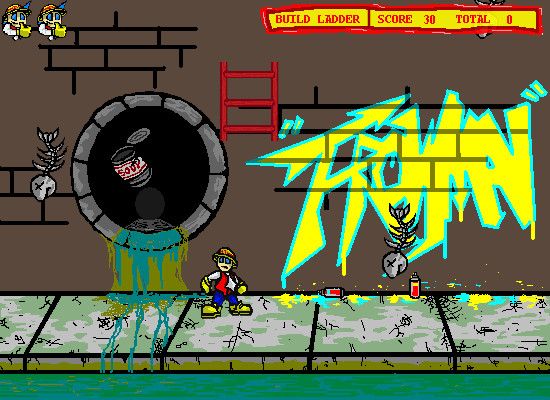 Dodgeman 2 Browser Dodge fish bones and cans and grab ladder pieces.