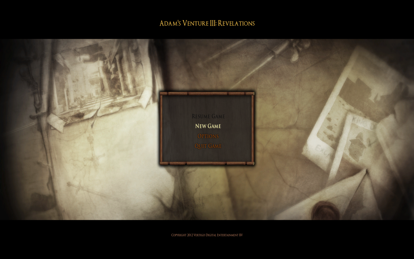 Adam's Venture: Episode 3 - Revelations Windows Main menu.
