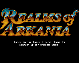 Realms of Arkania: Blade of Destiny Amiga Series title screen