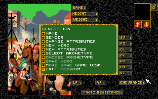 Realms of Arkania: Blade of Destiny Amiga Character generation is complex.