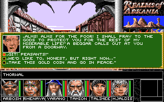 Realms of Arkania: Blade of Destiny Amiga Random encounters can pop up as you explore. Here a beggar asks for some coin.