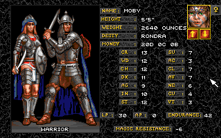 Realms of Arkania: Blade of Destiny Amiga You can assign attributes yourself, or pick from a large selection of archetypes. Some are regular fantasy game staples like the warrior.