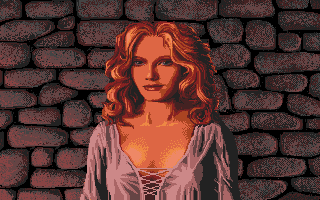 Defender of the Crown Apple IIgs Love scene - The Saxon Lady Rosalind.