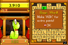 Bookworm Deluxe Game Boy Advance You get bonus words that you can solve for additional points