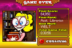 Bookworm Deluxe Game Boy Advance Final score and ranking