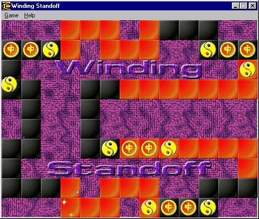 Winding Standoff Windows The player is about to win, all the computer's pieces are boxed in and there are no possible moves left