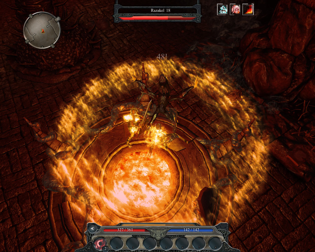 Divinity II: Ego Draconis Windows Boss fight. This demon casts fiery spells on me and my companion Sassan