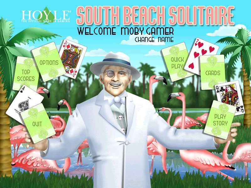 Hoyle South Beach Solitaire Windows This is the main menu as shown after the player has signed in and all the developer / publisher logos are out of the way.