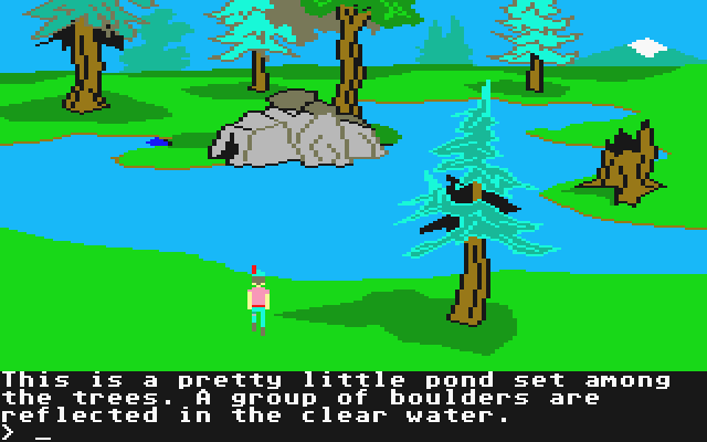 King's Quest II: Romancing the Throne Atari ST Standing near a pretty little pond