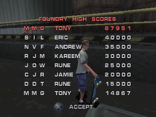 Tony Hawk's Pro Skater 3 PlayStation You got a new high score.
