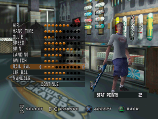 Tony Hawk's Pro Skater 3 PlayStation You can upgrade your stats you have collected here.