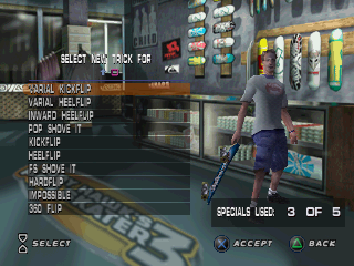 Tony Hawk's Pro Skater 3 PlayStation You can edit your tricks here, to unlock more tricks, you must 100% all the goals on each level.