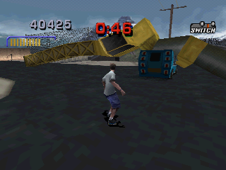 Tony Hawk's Pro Skater 3 PlayStation Poor ice cream truck, is being smashed by the tower.
