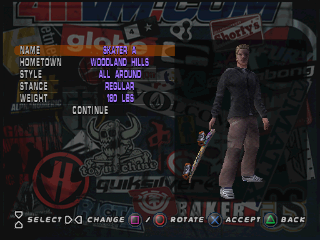 Tony Hawk's Pro Skater 3 PlayStation Create-a-Skater mode: You can create your own skater in this mode.