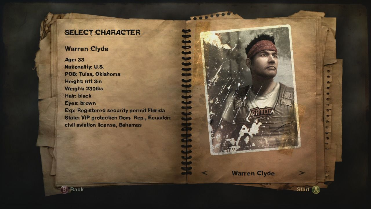Far Cry 2 Xbox 360 Character selection.