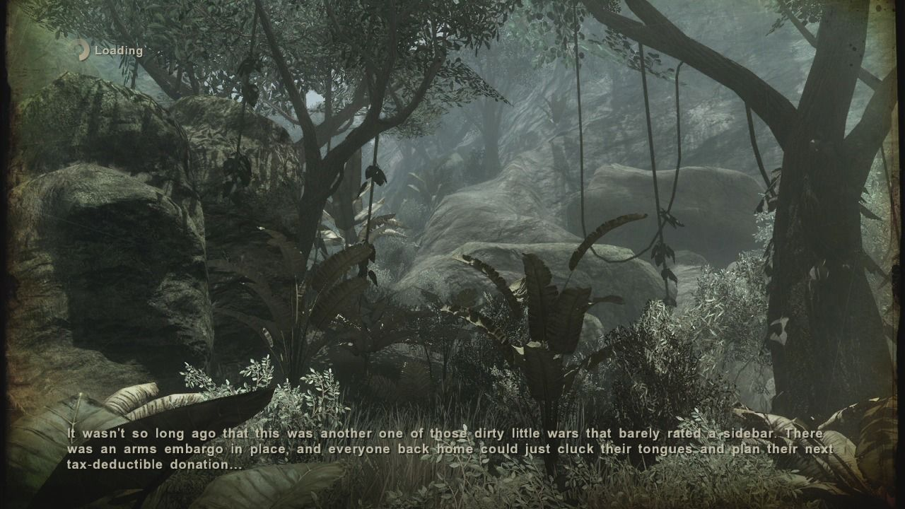 Far Cry 2 Xbox 360 Loading screens write the summary of your current situation.