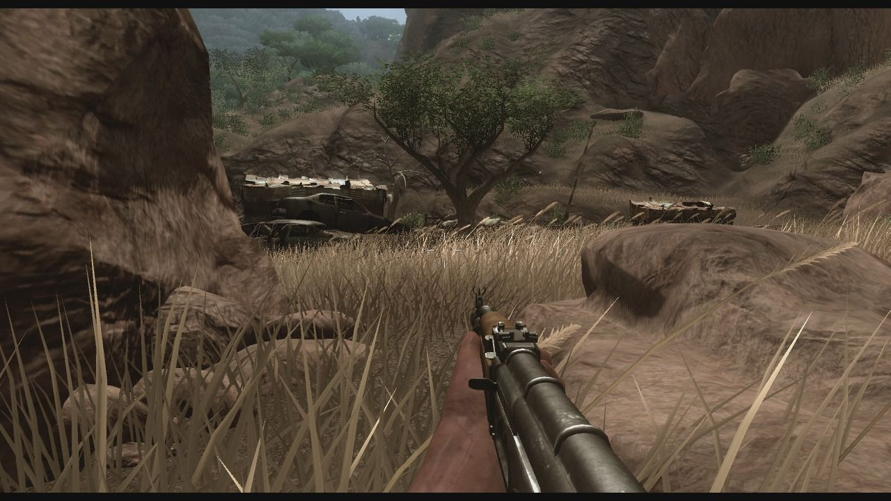 Far Cry 2 Xbox 360 Sneaking through the grass.