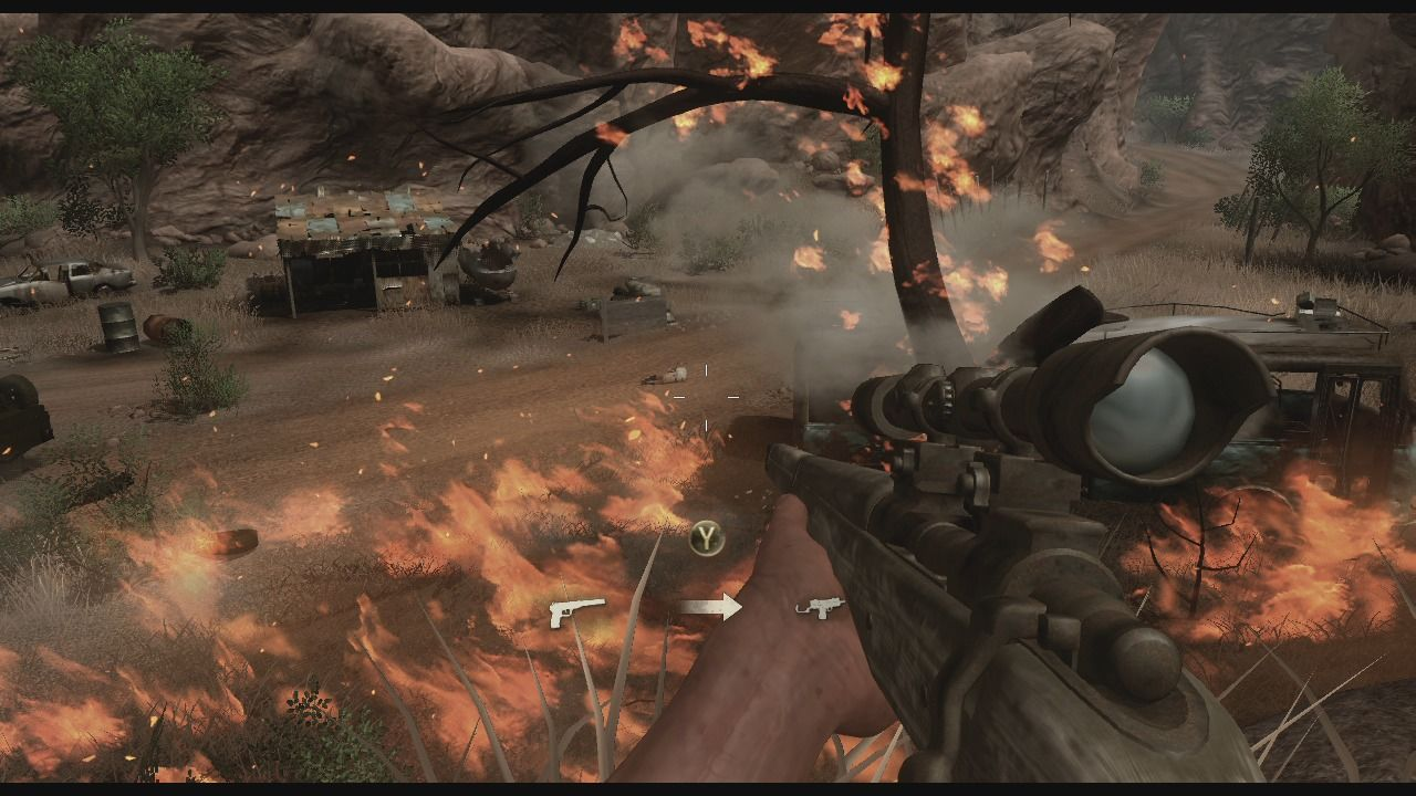 Far Cry 2 Xbox 360 Grass and trees will burn and fire will spread in this game.