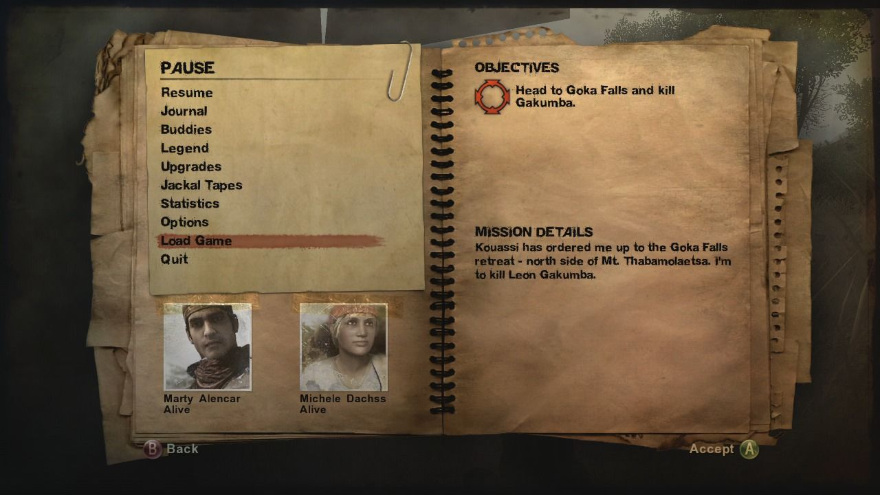 Far Cry 2 Xbox 360 Mission objectives can be seen in the pause menu.