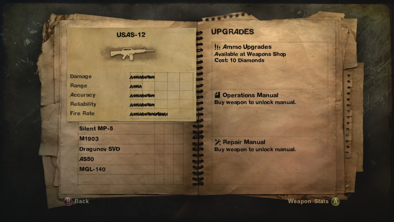 Far Cry 2 Xbox 360 Checking weapon upgrades.