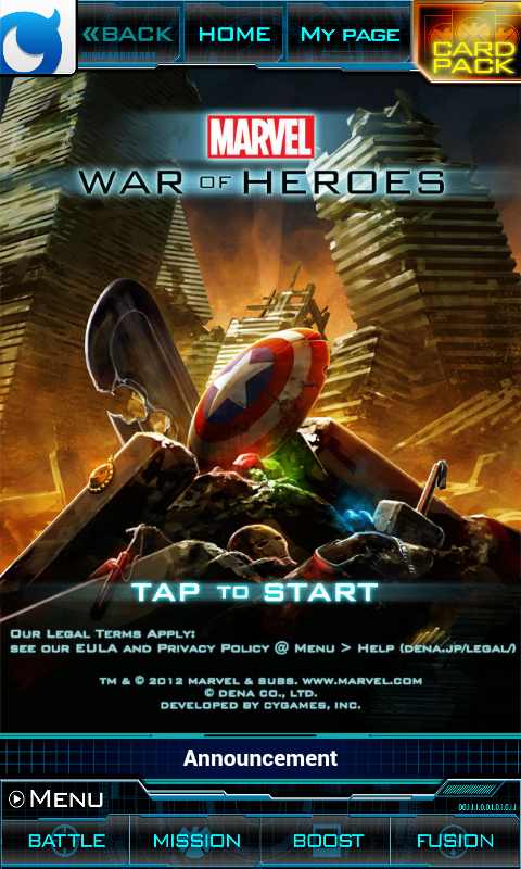 Marvel: War of Heroes Android Start screen