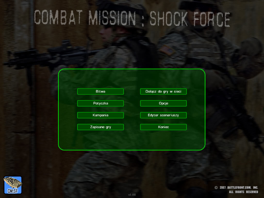 Combat Mission: Shock Force Windows Main Menu
