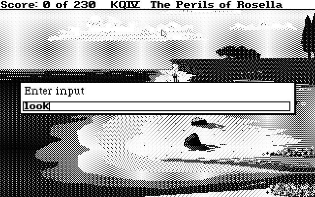 King's Quest IV: The Perils of Rosella Atari ST Starting position and entering command (Monochrome)