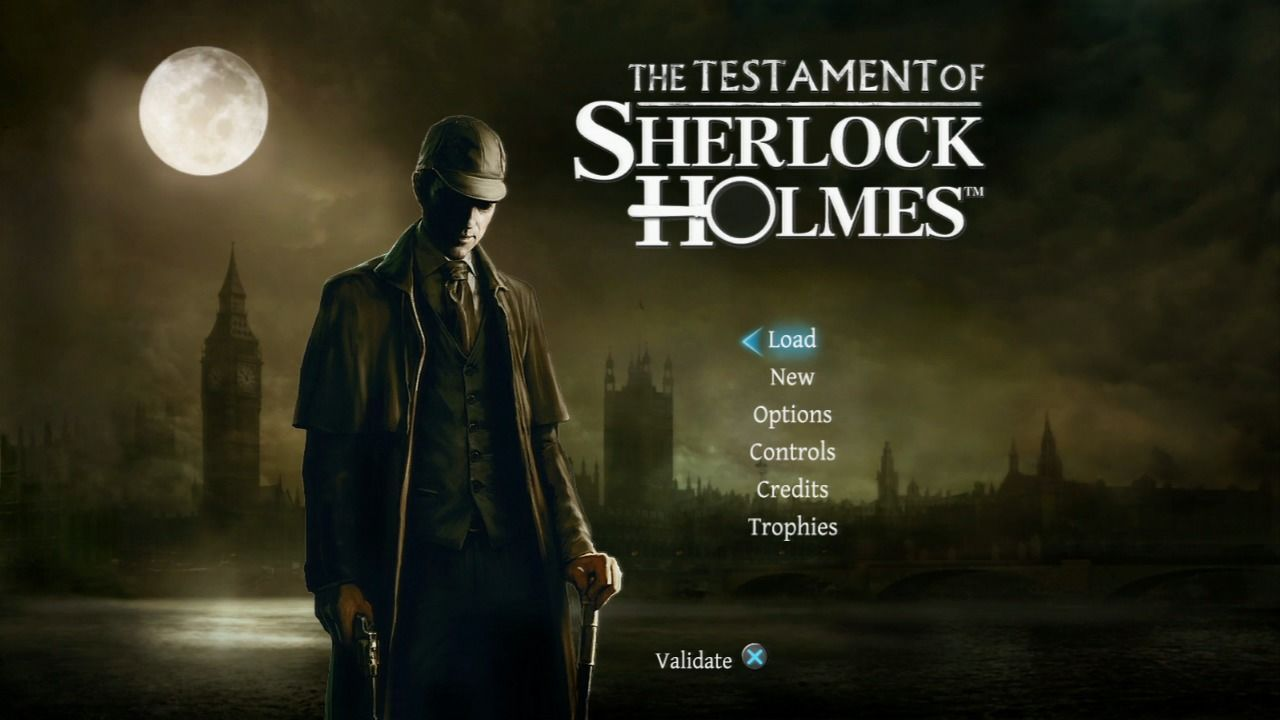The Testament of Sherlock Holmes PlayStation 3 Main menu.