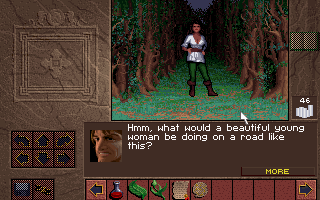 Lands of Lore: The Throne of Chaos DOS Women in dark forest