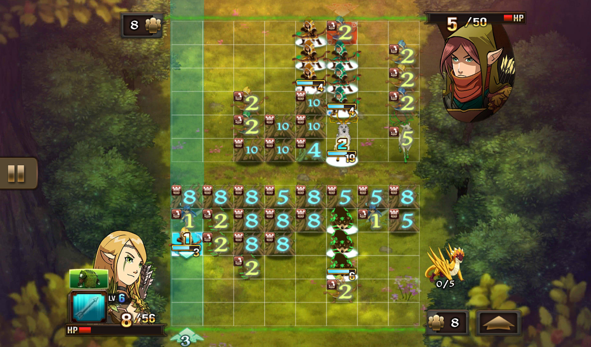 Might & Magic: Clash of Heroes Android Tapping three times to view the numbers that define health.