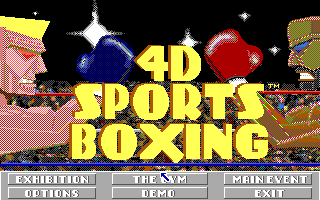 4-D Boxing DOS Title and Menu (EGA)