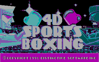 4-D Boxing DOS Title and Menu (CGA)