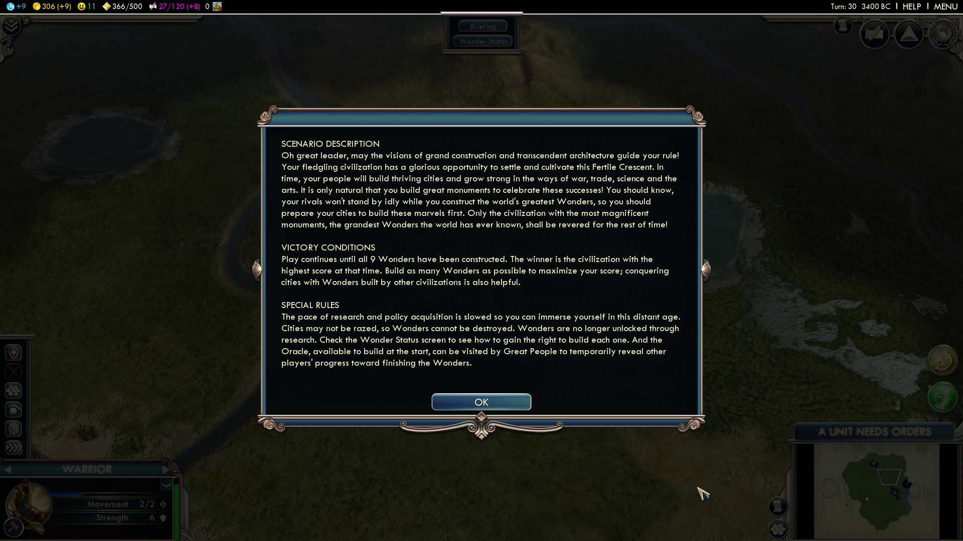 Sid Meier's Civilization V: Wonders of the Ancient World Scenario Pack Windows The victory conditions and special rules for this scenario.