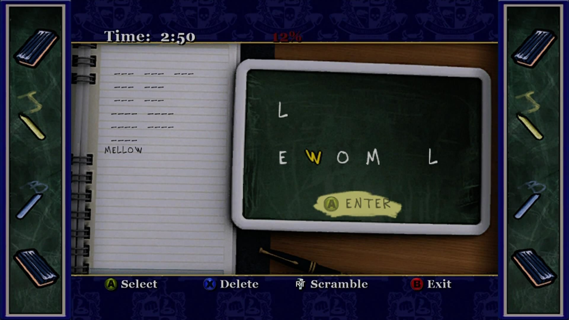 Bully: Scholarship Edition Xbox 360 English class mini game. Arrange the letters to find words.