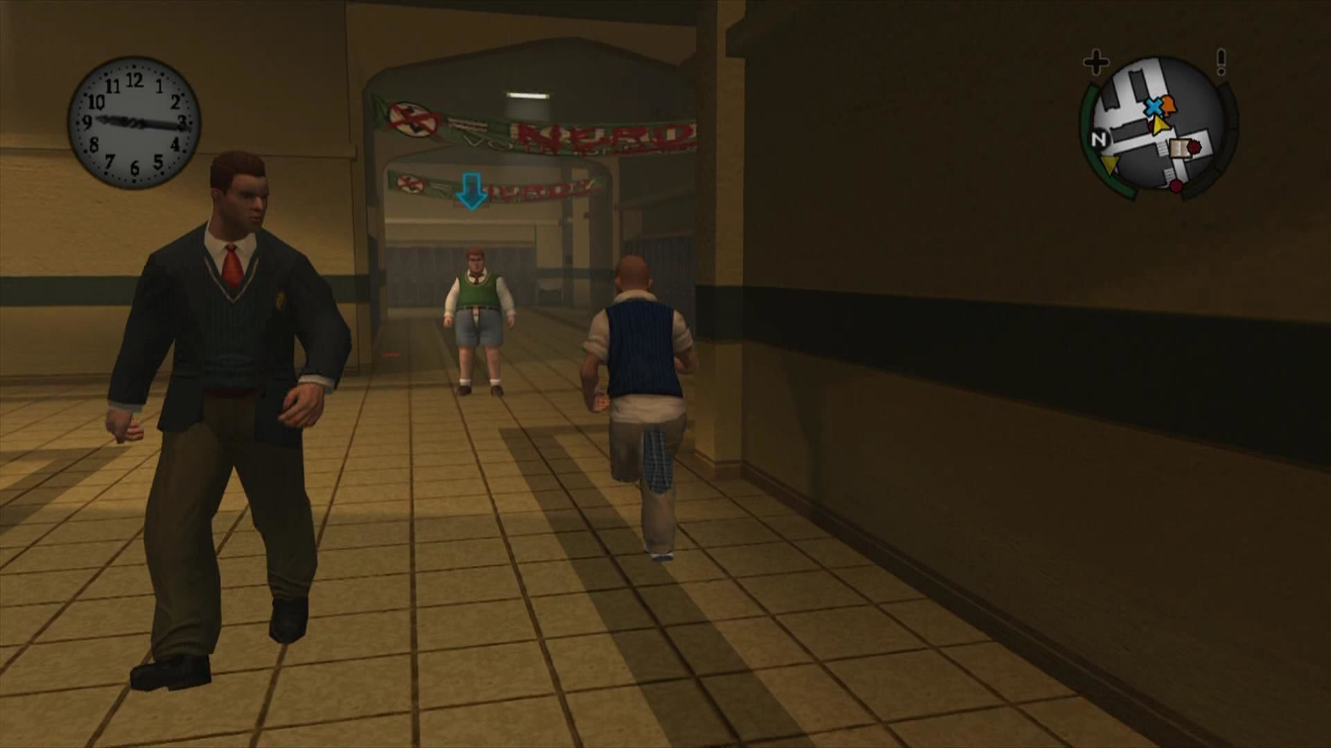 Bully: Scholarship Edition Xbox 360 People with errands are indicated with a blue arrow. Complete these to earn money.