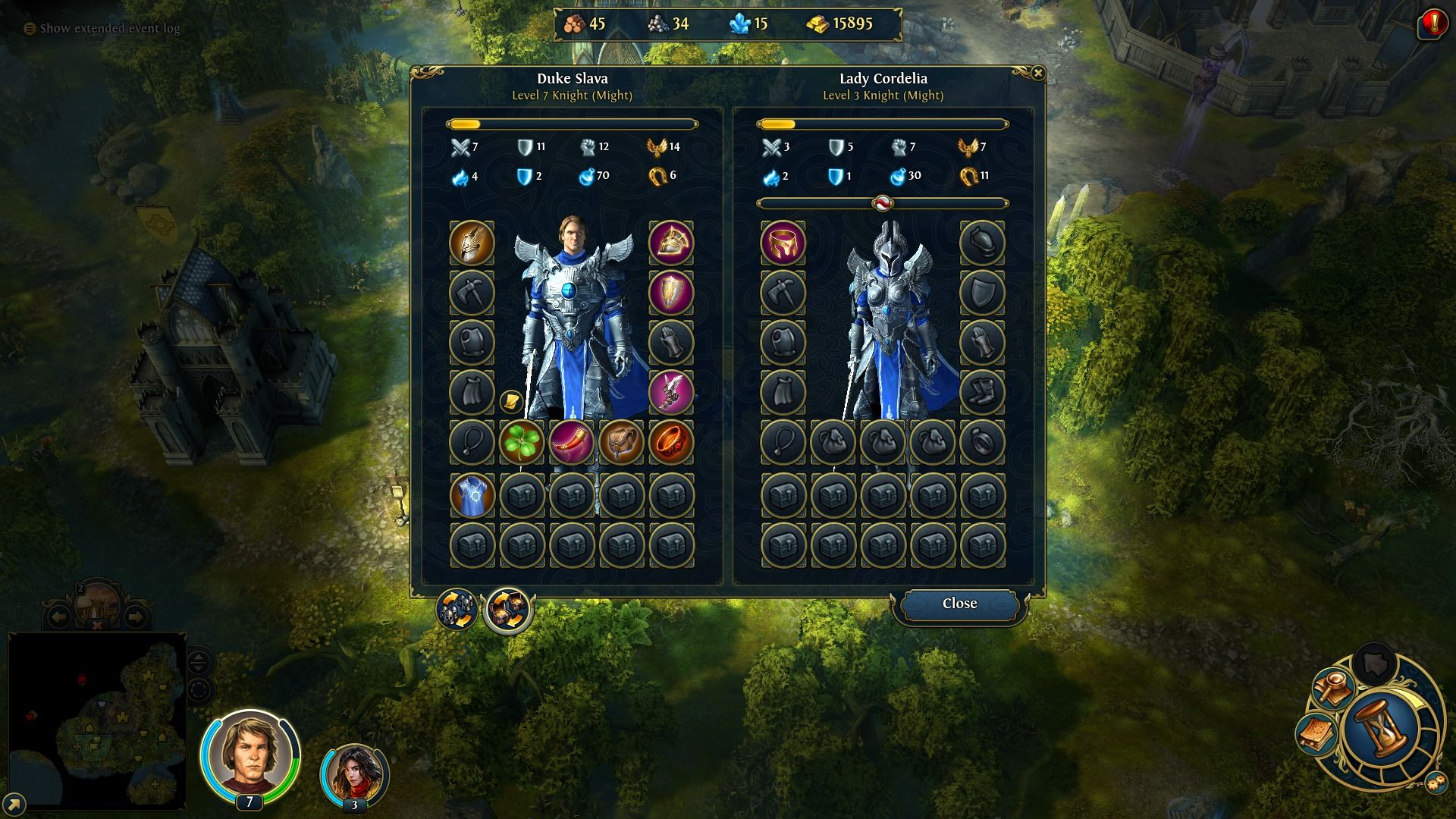 Might & Magic: Heroes VI Windows Friendly heroes can exchange items and armies.