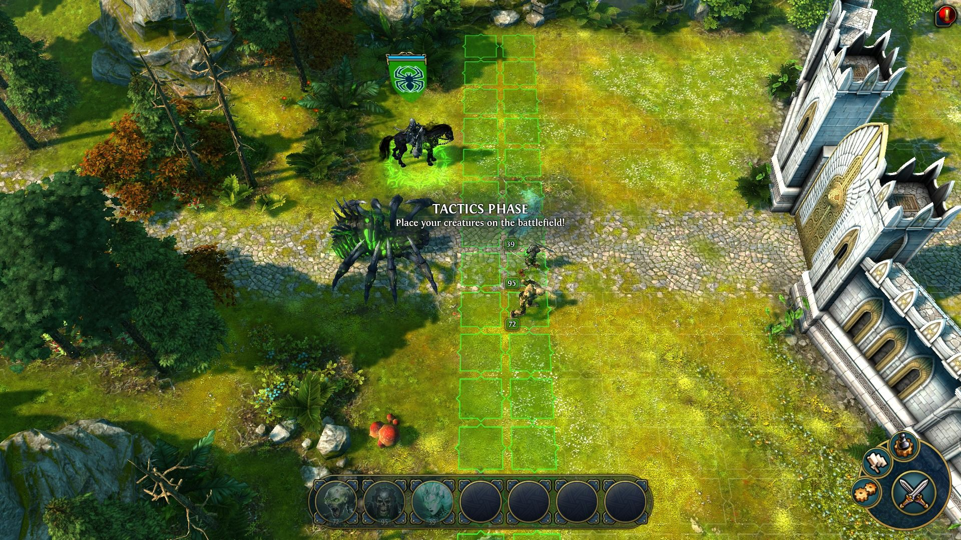 Might & Magic: Heroes VI Windows Deploying troops before an assault on the human town.
