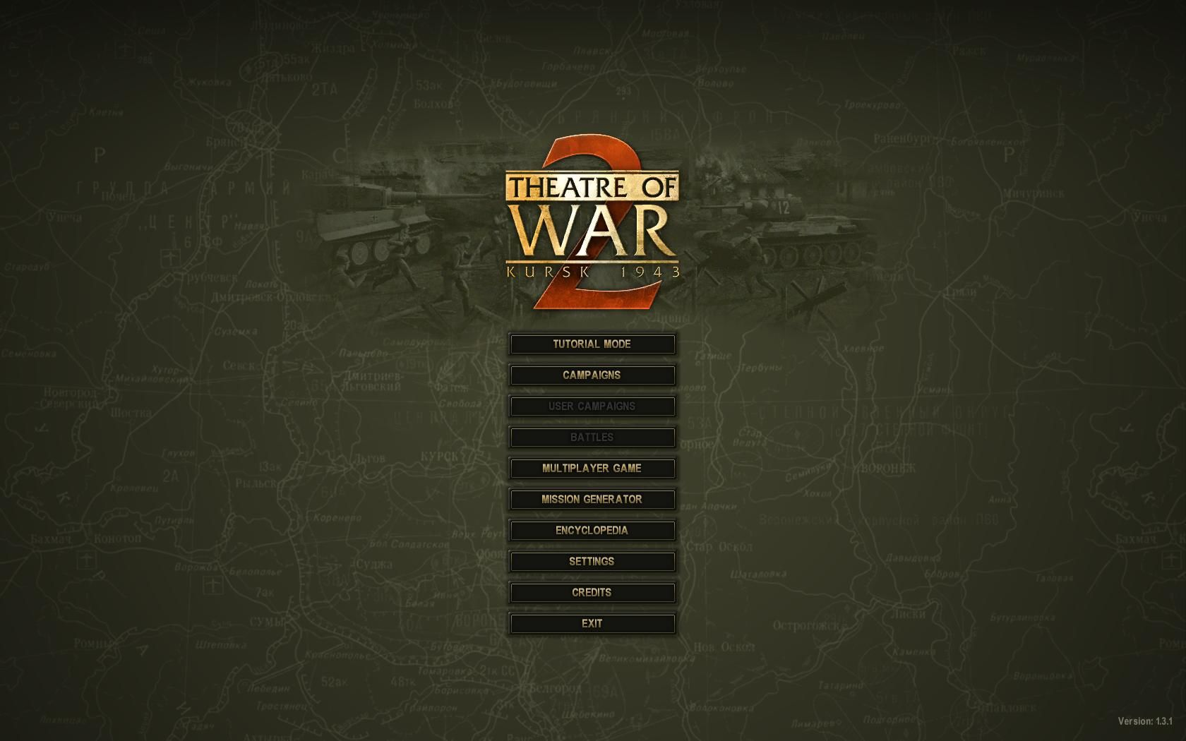 Theatre of War 2: Kursk 1943  Windows Main Screen