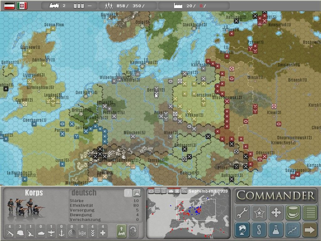 Commander: Europe at War Windows Map overview