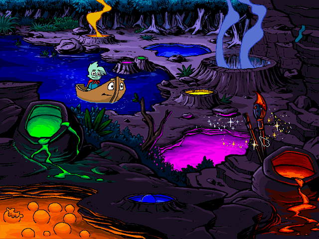 Pajama Sam: No Need to Hide When It's Dark Outside Windows The colorful geysers!