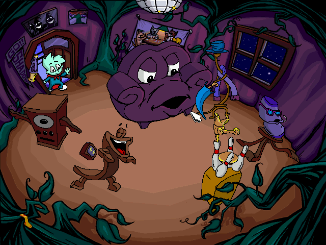 Pajama Sam: No Need to Hide When It's Dark Outside Windows A room with dancing furniture
