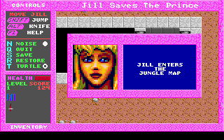 Jill of the Jungle: Jill Saves the Prince DOS Jill enters the jungle map