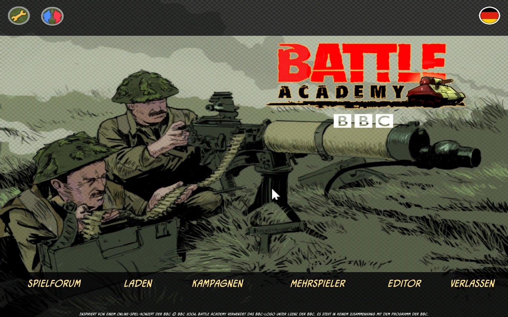 BBC Battlefield Academy Windows Main Screen